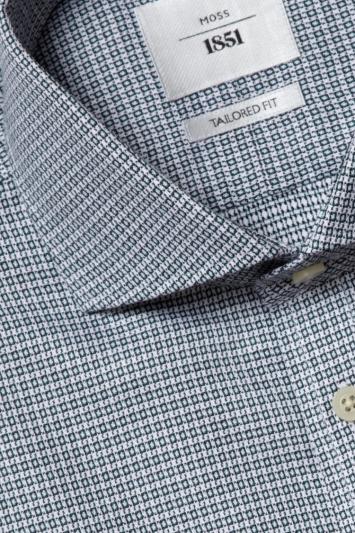 Moss 1851 Tailored Fit Green Single Cuff Dobby Zero Iron Shirt