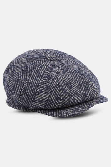 Navy Textured Herringbone Wool Baker Boy