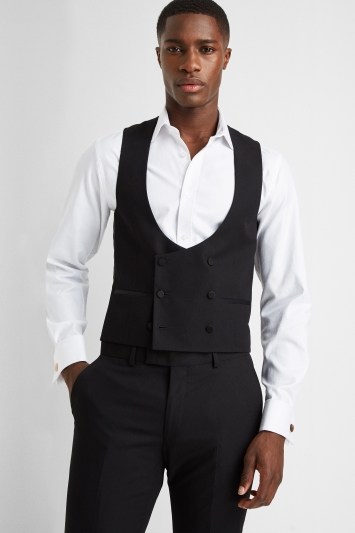 Moss London Slim Fit Black Dress Double Breasted Waistcoat
