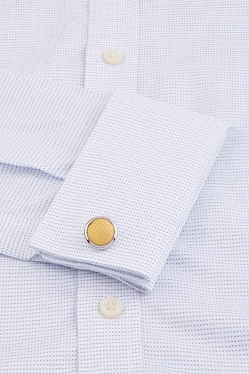 Silver with Yellow Silk Cufflink