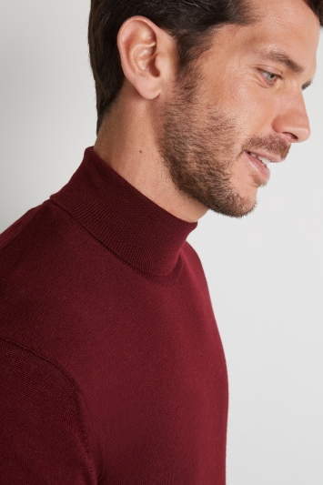 Moss 1851 Wine Merino Wool Roll-Neck Jumper