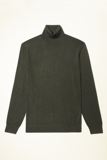 Moss Bros Forest Green Merino-Blend Roll-Neck Jumper