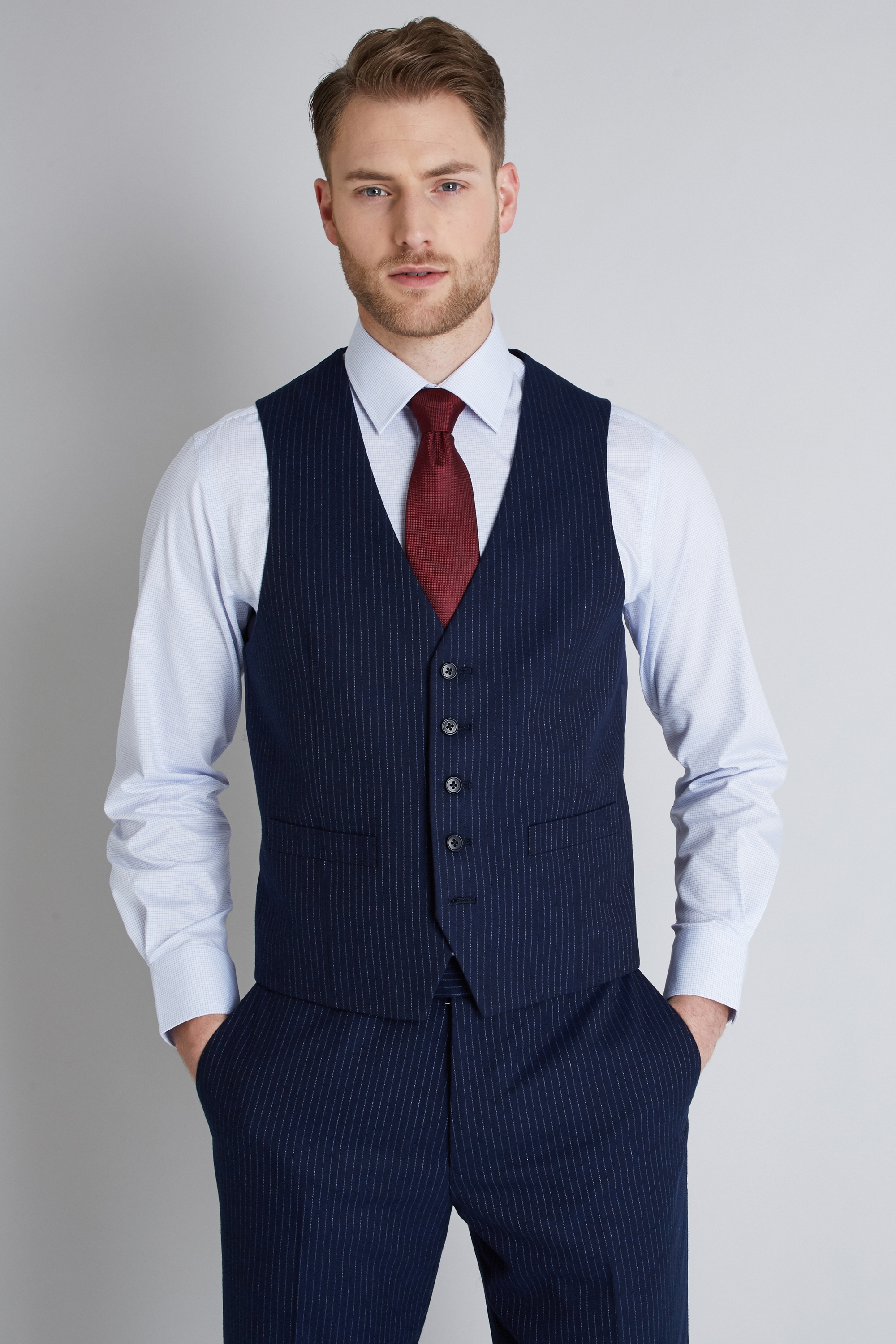 786-35 New mens formal poly viscose 5 button charcoal self stripe vest