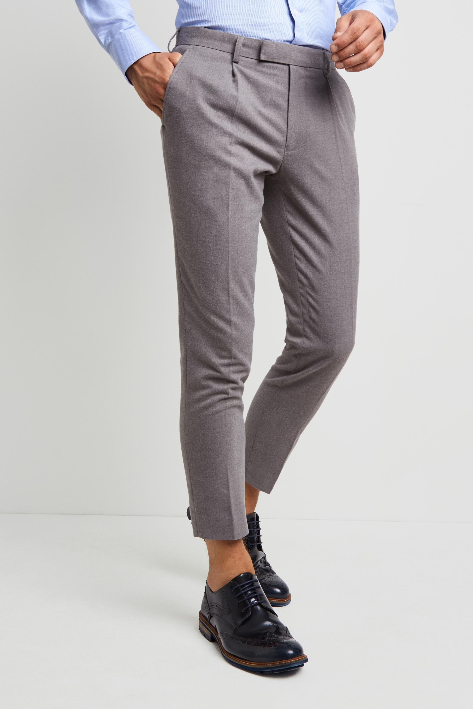 Moss London Slim Fit Light Grey Flannel Single Pleat Front Cropped Trousers