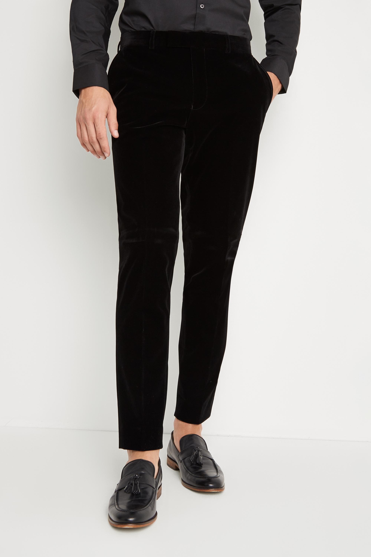 Moss London Skinny Slim Fit Black Velvet Dress Pants