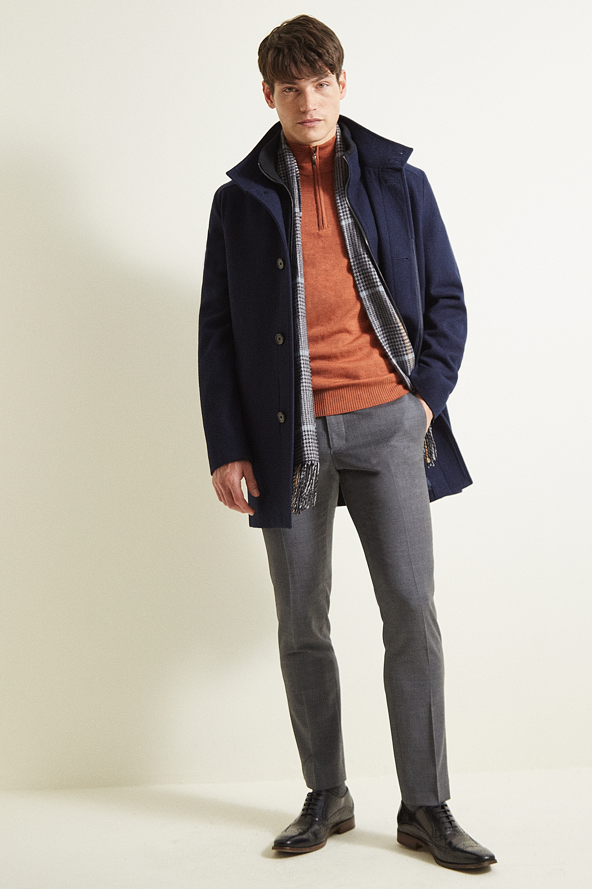 Moss 1851 Navy Wool Funnel Coat by Moss Bros